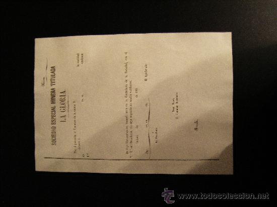 Coleccionismo Acciones Españolas: REPARTO DE ACCION S.E.MINERA LA GLORIA. SIERRA ALMAGRERA. CUEVAS DEL ALMANZORA. ALMERIA. 188- - Foto 4 - 28600165