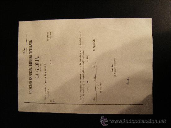 Coleccionismo Acciones Españolas: REPARTO DE ACCION S.E.MINERA LA GLORIA. SIERRA ALMAGRERA. CUEVAS DEL ALMANZORA. ALMERIA. 188- - Foto 3 - 28600165