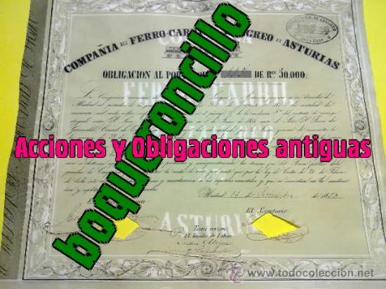 ACCION-OBLIGACION 50000 REALES V. FERROCARRIL LANGREO ASTURIAS -1850 - 3ER FC ESPAÑOL EMISIÓN 264 (Coleccionismo - Acciones Españolas)