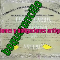 Coleccionismo Acciones Españolas: ACCION-OBLIGACION 50000 REALES V. FERROCARRIL LANGREO ASTURIAS -1850 - 3ER FC ESPAÑOL EMISIÓN 264. Lote 27326367