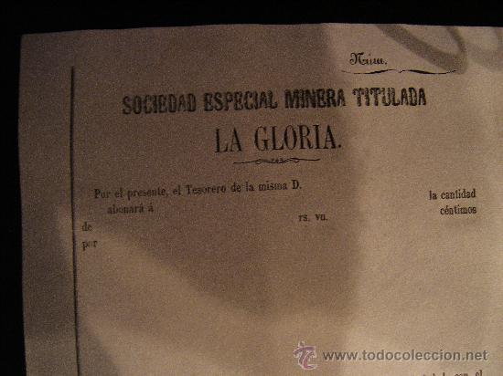 REPARTO DE ACCION S.E.MINERA LA GLORIA. SIERRA ALMAGRERA. CUEVAS DEL ALMANZORA. ALMERIA. 188- (Coleccionismo - Acciones Españolas)