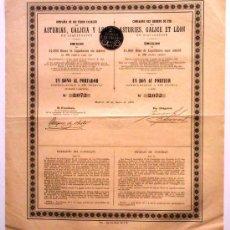 Coleccionismo Acciones Españolas: COMPAÑÍA DE LOS FERRO-CARRILES DE ASTURIAS, GALICIA Y LEÓN. Lote 27335479