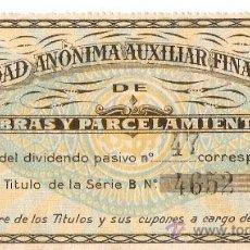Coleccionismo Acciones Españolas: ACCION SOCIEDAD ANÓNIMA AUXILIAR FINANCIERA DE OBRAS Y PARCELAMIENTOS . Lote 27419594
