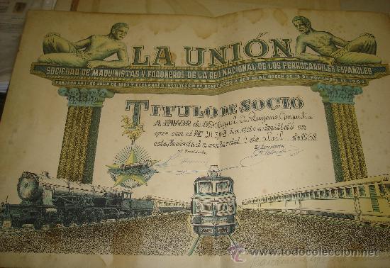 TITULO DE SOCIO DE LA UNION SOCIEDAD DE MAQUINISTAS Y FOGONEROS. FERROCARRILES ESPAÑOLES (Coleccionismo - Acciones Españolas)