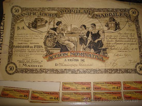 ACCION DE LA PANIFICADORA POPULAR MADRILEÑA (Coleccionismo - Acciones Españolas)