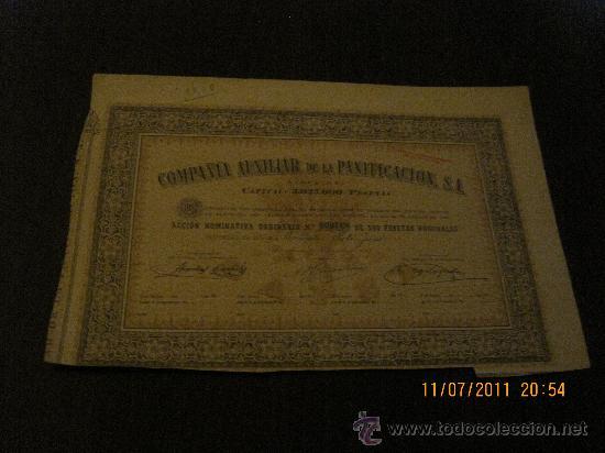 COMPAÑIA AUXILIAR DE LA PANIFICACION S.A. (Coleccionismo - Acciones Españolas)
