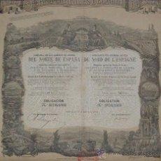 Coleccionismo Acciones Españolas: FERROCARRILES: COMPAÑÍA DE LOS CAMINOS DE HIERRO DEL NORTE DE ESPAÑA (1878). Lote 28020715