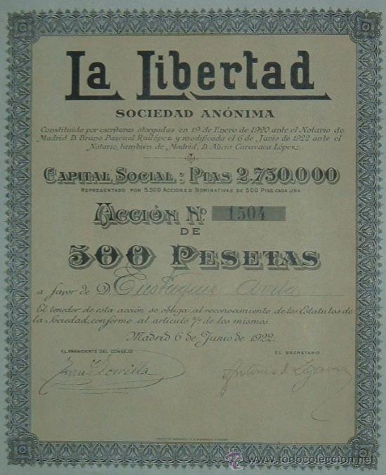 PRENSA: PERIÓDICO LA LIBERTAD - DIARIO REPUBLICANO INDEPENDIENTE, MADRID (1922) (Coleccionismo - Acciones Españolas)