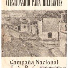 Coleccionismo Acciones Españolas: CUESTIONARIO PARA MILITANTES JARC 1964-5.ACCION CATOLICA.. Lote 28366245