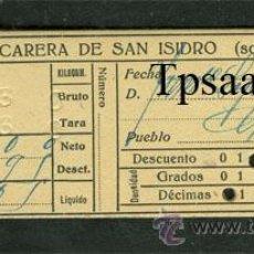 Coleccionismo Acciones Españolas: RARO TICKET PRODUCCION / COMPRA **FABRICA AZUCARERA SAN ISIDRO** GRANADA 1935 (VER ACCION AZUCARERA). Lote 28904281