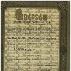 Coleccionismo Acciones Españolas: ACCION DANIEL AGUILO PANISELLO. AMPOSTA. 1972. EXCELENTE CONSERVACION . Lote 28855434