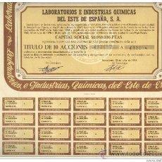 Coleccionismo Acciones Españolas: TITULO DE 10 ACCIONES. LABORATORIO E INDUSTRIAS QUIMICAS DEL ESTE DE ESPAÑA. BARCELONA.1974. COMPLET. Lote 28855821