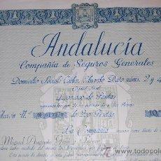 Coleccionismo Acciones Españolas: ACCIÓN COMPAÑIA DE SEGUROS GENERALES ANDALUCÍA - CADIZ - 1942. Lote 28866203