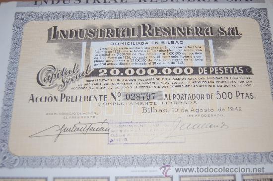 ACCION INDUSTRIAL RESINERA S.A. BILBAO 1942 (Coleccionismo - Acciones Españolas)