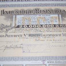Coleccionismo Acciones Españolas: ACCION INDUSTRIAL RESINERA S.A. BILBAO 1942. Lote 110239436