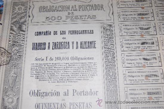 ACCION OBLIGACION FERROCARRILES MADRID ZARAGOZA ALICANTE MZA 1924 SERIE I (Coleccionismo - Acciones Españolas)