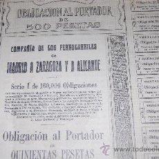 Coleccionismo Acciones Españolas: ACCION OBLIGACION FERROCARRILES MADRID ZARAGOZA ALICANTE MZA 1924 SERIE I. Lote 28866626
