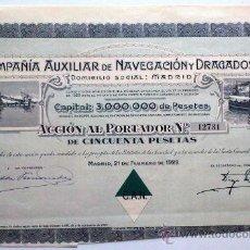 Coleccionismo Acciones Españolas: COMPAÑÍA AUXILIAR DE NAVEGACIÓN Y DRAGADOS, S. A.. Lote 20876828