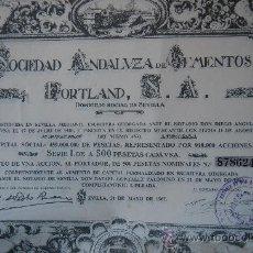 Coleccionismo Acciones Españolas: ACCION SOCIEDAD ANDALUZA CEMENTOS PORTLAND - SEVILLA 1967. Lote 28887672