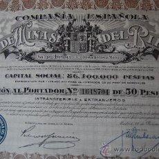 Coleccionismo Acciones Españolas: ACCIÓN MINAS DEL RIF - MADRID. Lote 110240020