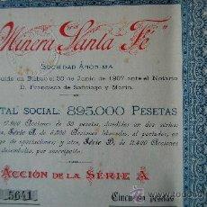Coleccionismo Acciones Españolas: ACCION MINERA SANTA FE - BILBAO 1907. Lote 188732891
