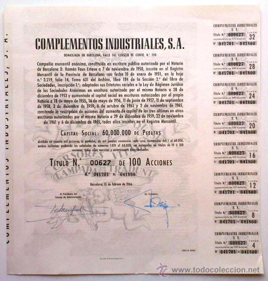 COMPLEMENTOS INDUSTRIALES, S. A. (Coleccionismo - Acciones Españolas)