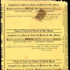 Coleccionismo Acciones Españolas: ACCIION PLAZA DE TOROS PUERTO SANTA MARIA, 50 PESETAS. 1877,78,79,80,81. 5 DIVIDENDO PASIVO. Lote 28938312