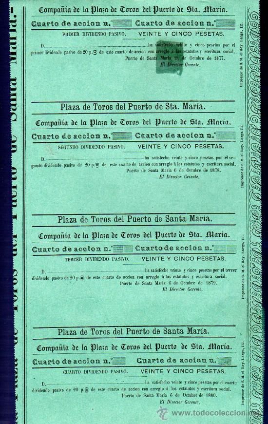 ACCION PLAZA DE TOROS PUERTO SANTA MARIA, 25 PESETAS. 1877,78,79,80,81. 5 DIVIDENDO PASIVO (Coleccionismo - Acciones Españolas)