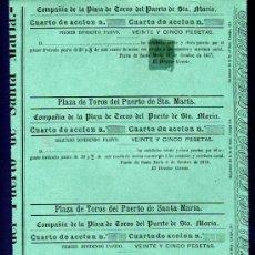 Coleccionismo Acciones Españolas: ACCION PLAZA DE TOROS PUERTO SANTA MARIA, 25 PESETAS. 1877,78,79,80,81. 5 DIVIDENDO PASIVO. Lote 28938390