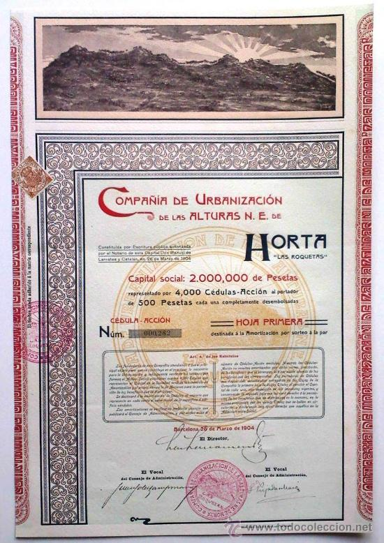 COMPAÑÍA DE URBANIZACIÓN DE LAS ALTURAS N. E. DE HORTA LAS ROQUETAS (Coleccionismo - Acciones Españolas)