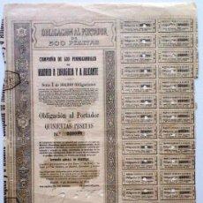Coleccionismo Acciones Españolas: FERRO-CARRILES MADRID A ZARAGOZA Y ALICANTE. Lote 21121796