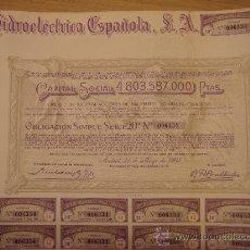 Coleccionismo Acciones Españolas: ACCIONES DE HIDROELECTRICA ESPALOLA SA. Lote 29676173