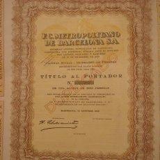 Coleccionismo Acciones Españolas: ACCIONES DE FC METROPOLITANO DE BARCELONA SA. Lote 29676355