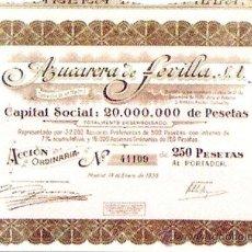 Coleccionismo Acciones Españolas: ACCION 1936.- AZUCARERA DE SEVILLA, S.A. DE 250 PTS.COMPLETA CON 40 CUPONES.. Lote 155932454