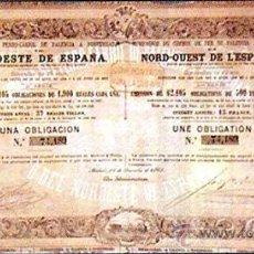 Coleccionismo Acciones Españolas: OBLIGACION 1863.- CIA. DEL FERROCARRIL DE PALENCIA A PONFERRADA DE 1900 REALES VELLÓN. Lote 30200366