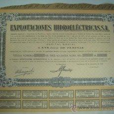 Coleccionismo Acciones Españolas: EXPLOTACIONES HIDROELECTRICAS, SA - ACCIÓN 500 PESETAS - CASTILLONROY, 28 SEPTIEMBRE 1948 - ORIGINAL. Lote 30443428