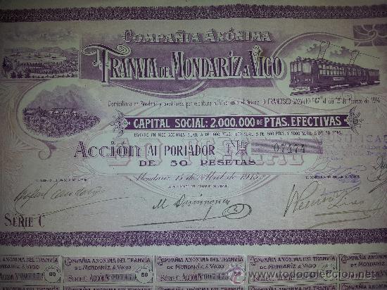 ACCION CIA ANONIMA DEL TRANVIA DE MONDARIZ A VIGO - ACCION 50 PTA SERIE C AÑO 1915 - CUPONES (Coleccionismo - Acciones Españolas)