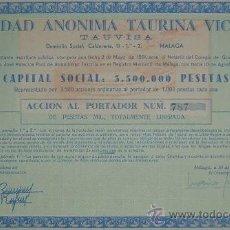 Coleccionismo Acciones Españolas: PLAZA DE TOROS DE MÁLAGA: SOCIEDAD ANÓNIMA TAURINA VICTORIA, MÁLAGA (1961). Lote 57820202