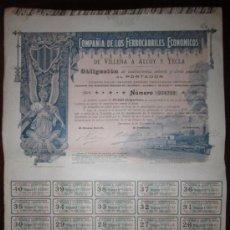 Coleccionismo Acciones Españolas: ACCIÓN COMPAÑÍA DE LOS FERROCARRILES ECONÓMICOS DE VILLENA Á ALCOY Y YECLA. BARCELONA, 1902. Lote 30754186