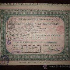 Coleccionismo Acciones Españolas: ACCIÓN COMPAGNE DES MINES ET CHEMINS DE FER DE BACARÉS-ALMERIA ET EXTENSIONS. 1887. Lote 30754524