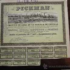 Coleccionismo Acciones Españolas: ACCIÓN PICKMAN S.A. FÁBRICA DE LOZA EN LA CARTUJA DE SEVILLA, 1939. Lote 30767984