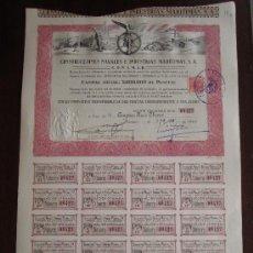 Coleccionismo Acciones Españolas: ACCIÓN CONSTRUCCIONES NAVALES E INDUSTRIAS MARÍTIMAS S.A. C.O.N.S.M.A.R. VALENCIA, 1943. Lote 30770580