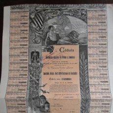Coleccionismo Acciones Españolas: ACCIÓN CÉDULA. COMPAÑÍA GENERAL DE MINAS Y SONDEOS S.A. BARCELONA, 1901. Lote 30772112