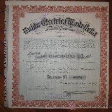 Coleccionismo Acciones Españolas: ACCIÓN UNIÓN ELÉCTRICA MADRILEÑA S.A. MADRID, 1912.. Lote 30777852
