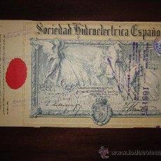 Coleccionismo Acciones Españolas: ACCIÓN SOCIEDAD HIDROELÉCTRICA ESPAÑOLA. MADRID, 1909.. Lote 30778170