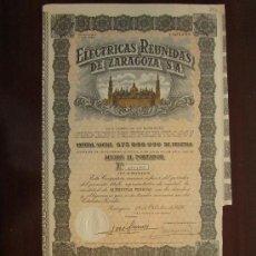 Coleccionismo Acciones Españolas: ACCIÓN ELÉCTRICAS REUNIDAS DE ZARAGOZA S.A. ZARAGOZA, 1956. Lote 30786232
