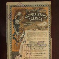 Coleccionismo Acciones Españolas: ACCIÓN S.A. HIDROELÉCTRICA IBÉRICA. BILBAO, 1921.. Lote 30786242