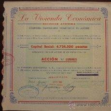 Coleccionismo Acciones Españolas: ACCIÓN LA VIVIENDA ECONÓMICA S.A. MADRID, 1936.. Lote 30786393