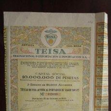 Coleccionismo Acciones Españolas: ACCIÓN ANTIGUA CASA BOULE TEISA TRANSNACIONAL DE EXPORTACIÓN E IMPORTACIÓN S.A.. Lote 30809996