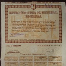"""Coleccionismo Acciones Españolas: ACCIÓN INDUSTRIAS QUÍMICO-SALINERAS DEL MEDITERRÁNEO S.A. """"INQUISAL"""" BARCELONA, 1945. Lote 30814163"""